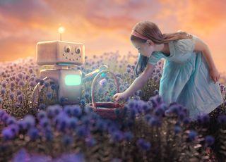 Girl and robot