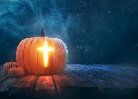 Pumpkin and Cross background (100748)