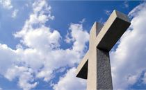 White Cross & Blue Cloudy Sky