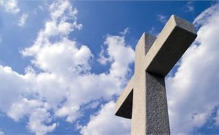 White Cross & Blue Cloudy Sky