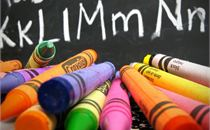 Chalkboard and school supplies