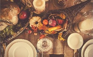 Overhead Thanksgiving Table