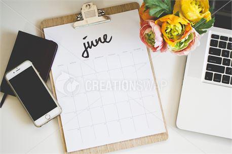 June 2016 Calendar On Desk (38640)