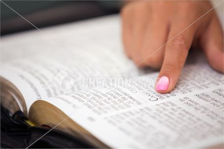 Girl Pointing to Bible Verse (41924)