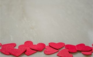 Red Hearts Border on Marble