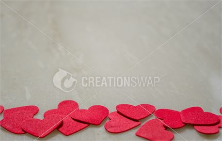 Red Hearts Border on Marble (46314)