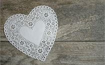 White Lace Heart on Wood