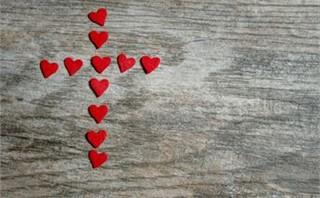 Red Heart Cross on Wood