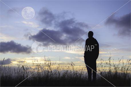 Man Staring at the Big Moon (47313)