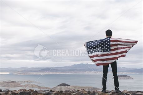 Holding an American flag (48718)