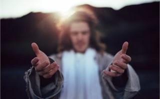 Jesus extending hands