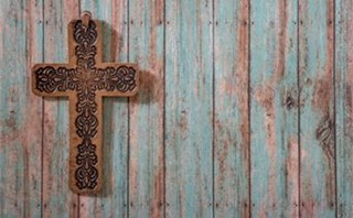 Leather Cross on Painted Wood
