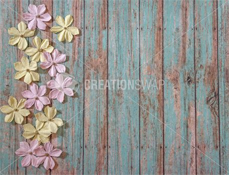 Paper Flowers on Wood (50264)
