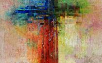 Cross with abstract colors