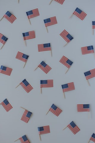 Scattered  American flags