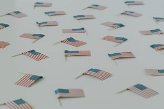 Scattered American flags 2