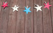 Stars hanging on line