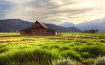 Old Barn and mountains