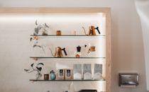 Shelves at a cafe
