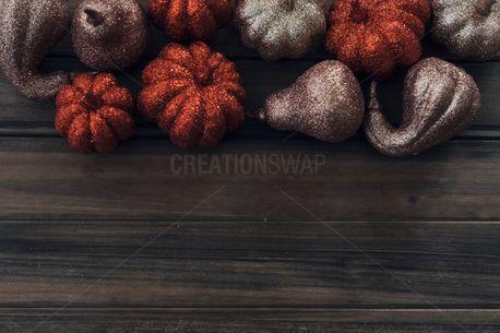 Gourds, Glitter pumpkins top (58907)
