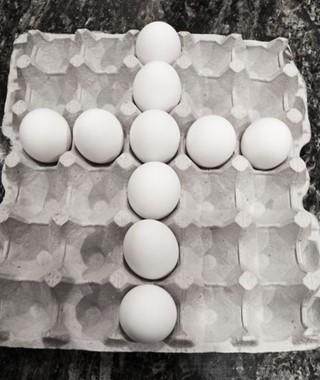 Cross made of eggs