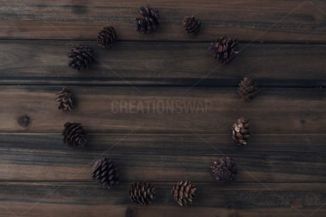 Circle Of Pinecones on Wood (59396)