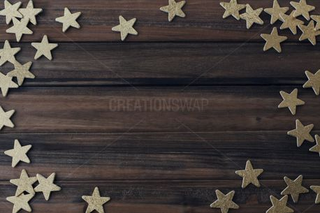 Gold Stars on wood Background (60031)