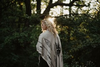 Woman in Shawl in Woods