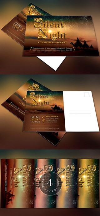 Silent Night Postcard Template