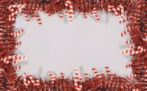 Red and white tinsel garland