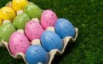 Pastel Easter eggs in carton