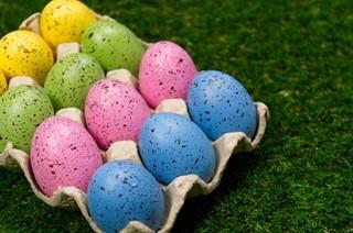 Pastel Easter eggs in carton