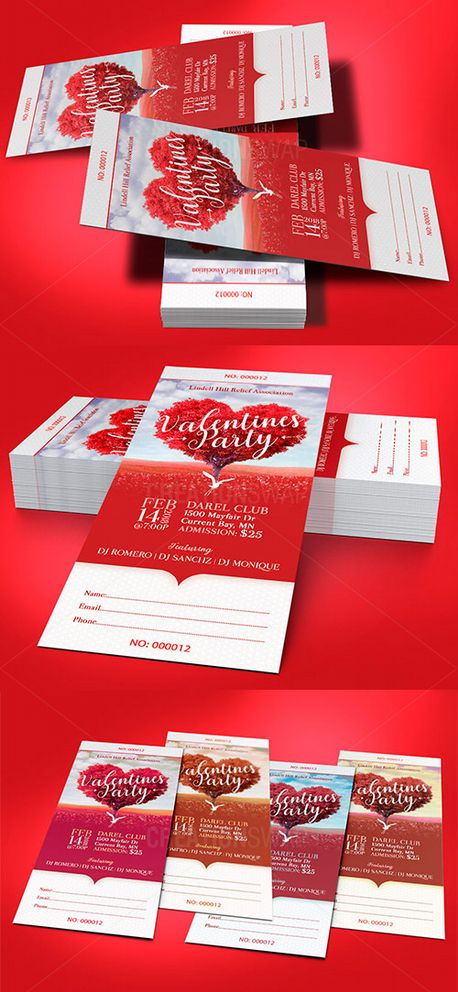Heart Valentines Party Ticket (63377)