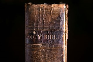 Close up Detail of Old Bible