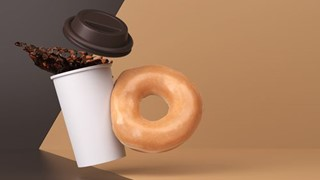 Hot Coffee with Glazed Donut