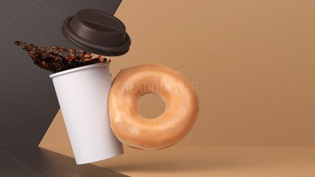Hot Coffee with Glazed Donut (64341)