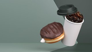 Hot Coffee with Boston Donut