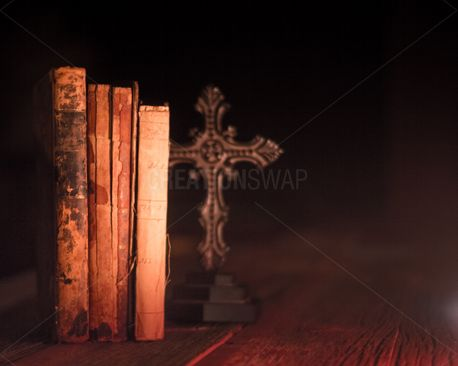 Old Books and cross (66221)