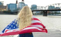 Pretty Girl Wrapped In Flag