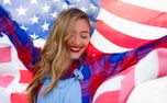 Close up of girl with flag (68220)