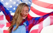 Close up of girl with flag