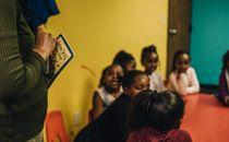 Children in church classroom