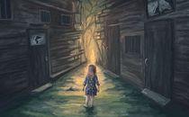 Little girl and broken pathway