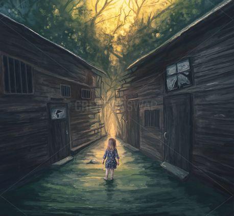 Little girl and broken pathway (68557)