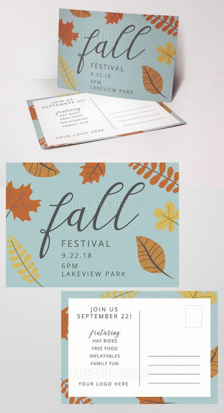Fall Festival Invite Postcards (71945)