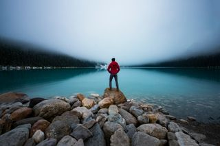 watching Lake Louise in sunris