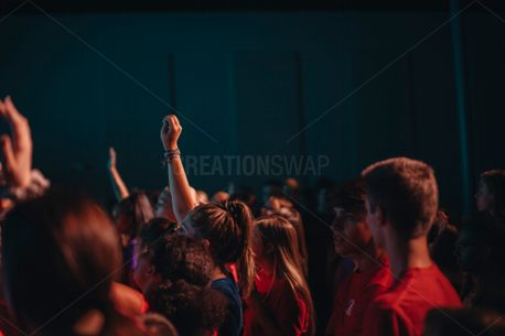 Group with hands in worship (73374)