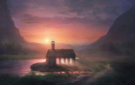 Lighting shining thru church (74395)