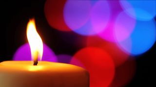 Candle and Colorful Lights