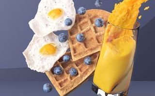 Waffles with Eggs and Berries